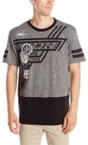 Southpole Men's Short Sleeve Marled Tee Shirt with Solid Bottom and Graphics