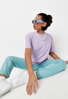 Missguided Lilac Drop Shoulder Oversized T Shirt