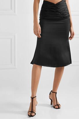 Orseund Iris Romantique Ruched Satin Skirt - Black