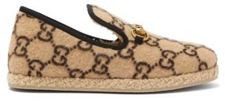 Gucci Fria Horsebit Gg-print Felt Loafers - Womens - Beige