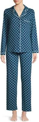 Jones New York Printed Button-Down Shirt Pants 2-Piece Pyjama Set