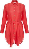 Heidi Klein Porto Vecchio Coral Crinkled-Cotton Pleated Shirt Dress