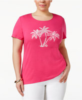 Karen Scott Plus Size Cotton Studded Printed T-Shirt, Only at Macy's