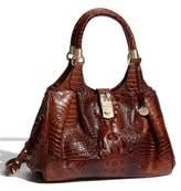 Brahmin Elisa Croc Embossed Leather Shoulder Bag - Brown