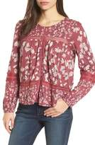 Lucky Brand Lace Inset Print Knit Top