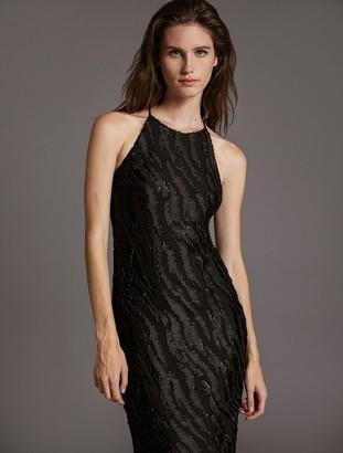 Halston Clip Jacquard Gown