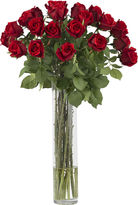 Asstd National Brand Nearly Natural Rosebud Silk Flower Arrangement with Cylinder Vase