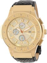 "JBW Men's JB-6101L-J ""Saxon"" Gold Braided Leather Diamond Watch"