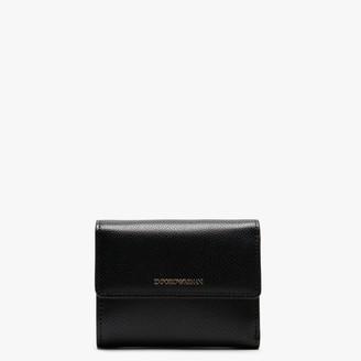 Emporio Armani Black Pebbled Bi Fold Wallet