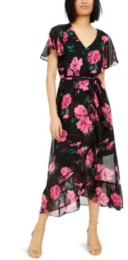 INC International Concepts Inc Floral Wrap Maxi Dress, Created for Macy's
