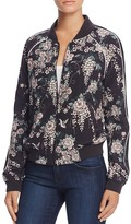 Joie Mace Floral Silk Bomber Jacket