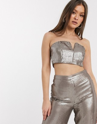 Asos Design DESIGN all over sequin bandeau crop top two-piece-Silver