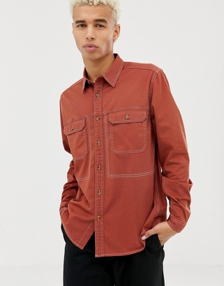 Asos DESIGN overshirt with contrast stitching in rust