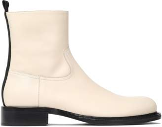 Ann Demeulemeester Grosgrain-trimmed Leather Ankle Boots