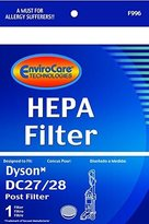 Dyson DC28 & DC27 Replacement Washable & Reusable Post HEPA Vacuum Cleaner Filter; Compare to Dyson DC28 Part# 915916-03 by EnviroCare Technologies