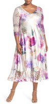 Komarov Plus Size Women's Floral Print Lace & Charmeuse V-Neck Dress