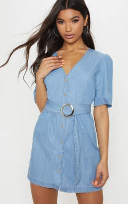 PrettyLittleThing Light Wash Buckle Denim Dress