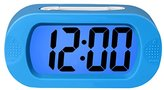 ZHPUAT Colorful Light Digital Alarm Clock with Snooze, Simple Setting, Progressive Alarm, Battery Operated, Shockproof, The Ideal Gift Clock For Kids & Convenient for Travel (Blue)