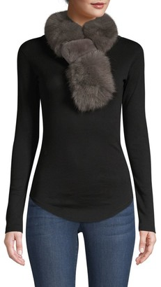 Adrienne Landau Rex Rabbit Fur & Fox Fur Pull-Through Scarf