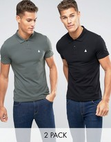 Asos 2 Pack Muscle Polo Shirt With Logo In Black/Green SAVE