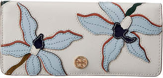 Tory Burch Robinson Applique Leather Slim Wallet