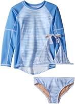 Toobydoo Blue White Stripe Bikini Rashguard Set Girl's Swimwear Sets
