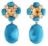 Bounkit Turquoise, Quartz & White Topaz Earrings