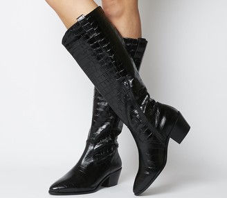 Office Kountry Casual Western Knee Boots Black Croc Leather
