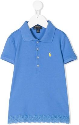 Ralph Lauren Kids Short Sleeve Lace Trim Polo Shirt