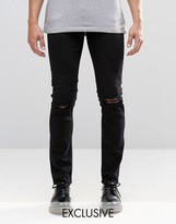 Cheap Monday Jeans Tight Skinny Fit New Black Ripped Knee