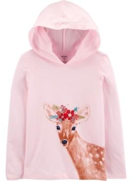 Carter's Big Girls Deer Hooded Jersey Tee