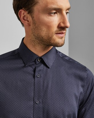 Ted Baker TOMASS Micro geo print cotton shirt
