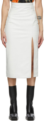 Meryll Rogge White Leather Vintage Slit Skirt