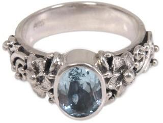 Novica Handmade Sterling Silver Frangipani Path Blue Topaz Ring