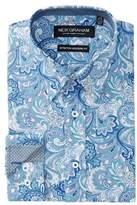 Nick Graham Paisley Print Stretch Modern Fit Dress Shirt