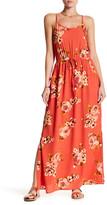 Bobeau Drawstring Waist Floral Print Maxi Dress
