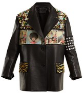 Prada Contrast-panel Embellished Leather Jacket - Womens - Black