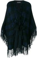Balmain fringed tartan cape - women - Polyamide/Viscose/Mohair/Wool - 34