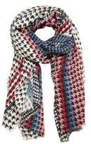 MANGO Houndstooth knit scarf