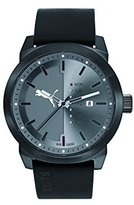 Puma Day-To-Day Men's Quartz Watch with Grey Dial Analogue Display and Black Leather Strap PU104241005