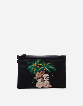 Dolce & Gabbana Dna Clutch Bag In Nylon With Tropical Stylist Patches