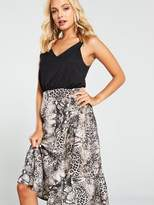 AX Paris Snake Print Contrast Dress - Grey