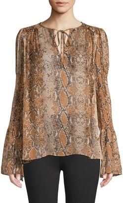 Diane von Furstenberg Rohini Snake Print Silk Top