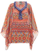 Etro Tasselled Printed Crepe De Chine Poncho - Womens - Red Multi