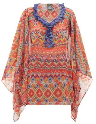 Etro Tasselled Printed Crepe De Chine Poncho - Red Multi