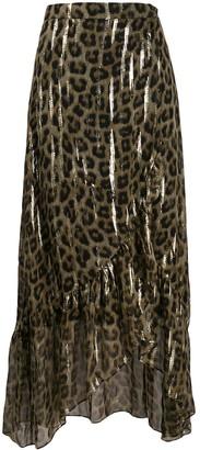 BA&SH Leopard Print Maxi Skirt