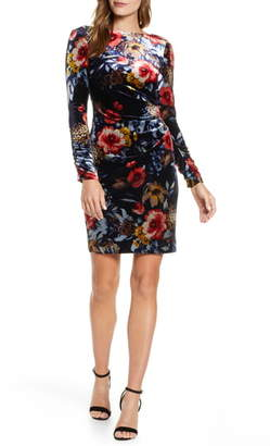 Vince Camuto Floral Long Sleeve Stretch Velvet Dress
