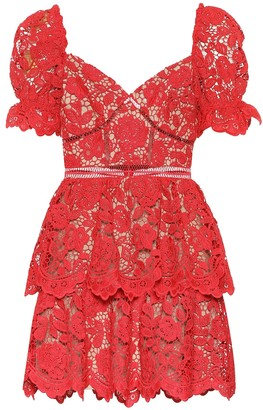 Self-Portrait Floral-lace minidress