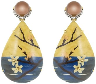 Silvia Furmanovich 18kt yellow gold diamond Marquetry Cherry Blossom teardrop earrings