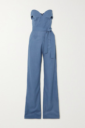 MATÉRIEL Strapless Belted Woven Jumpsuit - Blue